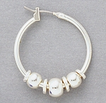 Earring Silver Round Joint and Catch Hoop with Ball Accents