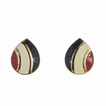 pierced earrings posted Gold Teardrop lined with red white & blue inlay