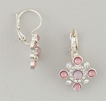 earrings silver euro clasp with pink & crystal stones in square shield