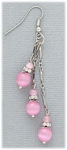 earrings silver French hook three pink cats eye on chain dangles