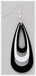 Earrings Silver French Hook Black and White Teardrops
