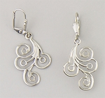 earrings silver leaf euro clasp with silver feathery swirl drop