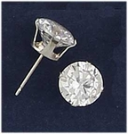 earrings silver posted 8mm cubic Zirconia Cubic Zirconia Tiffany