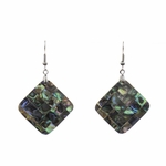 Earrings stainless French hook Abalone mosaic diamond drop