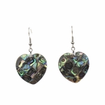 Earrings stainless French hook Abalone mosaic heart drop