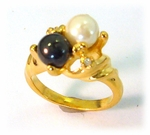 gold black and white pearl ring