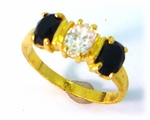 gold onyx and cubic zirconia ring