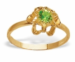 Gold With Green Crystal Ring