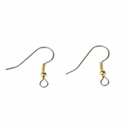 Jewelry Components 1 pair silver French hook gold coil bead accent