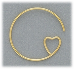Jewelry Components Gold ear wire with heart shape loop 1 pair