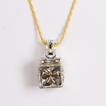 necklace 24 inch rope antique silver and gold magnetic payer box