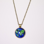 necklace antique brass earth pendant