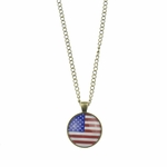 necklace antiqued brass American flag round pendant