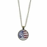 necklace antiqued brass Statue of Liberty American flag round pendant