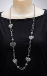Necklace antiqued silver heart and chain 35 inch 3 inch extender