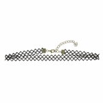Necklace choker antique brass clasp black mesh lace