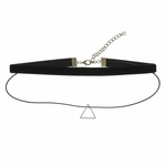 Necklace choker black velvet and cord double strand silver triangle