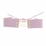 necklace choker pink faux suede gold chain tie in back