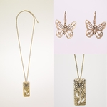 necklace earring set antique gold silver floral butterfly French hook