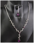 Necklace Earring Set Crystal and Purple Crystal