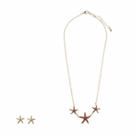 Necklace Earring Set gold coral starfish posted earrings