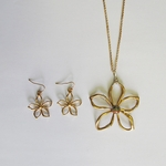 necklace earring set gold French hook flower pendant silver accents Unakite