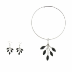necklace earring set silver collar black leaf pendant and French hook earring