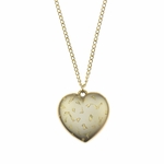 necklace gold 16 inch necklace heart pendant with ab flecks