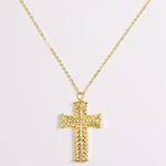 necklace gold and crystal cross 18 inch necklace