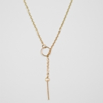 necklace gold circle stick lariat