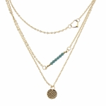 necklace gold layered heart turquoise hammered disk
