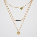 necklace gold layered with triangle black beads and disk