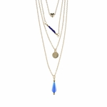 necklace gold multi strand heart blue beads tree of life and teardrop
