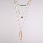 necklace gold turquoise multi layer feather necklace