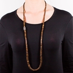 Necklace dyed brown Heishi