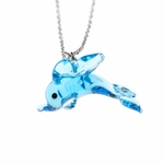 necklace silver 18 inch glass dolphin