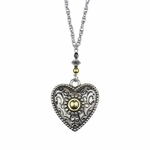 necklace silver 36 inch necklace with gold and silver heart pendant