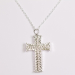 necklace silver and crystal cross 18 inch necklace