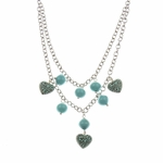 necklace silver double strand necklace with aqua beads and swirl hearts