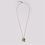 necklace silver green crystal 4 leaf clover