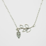 necklace silver leaf with owl drop