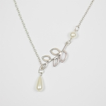 necklace silver leaf with pearl and pearl teardrop