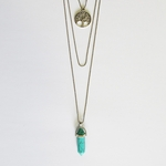 necklace silver multi layered plain tree of life and turquoise drop