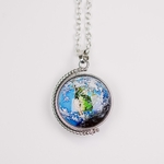 necklace silver spinning earth