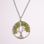necklace stainless and peridot tree of life
