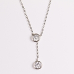 necklace stainless steel delicate chain with 2 cubic zirconia 4mm Y drop