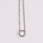 necklace Stainless steel delicate chain with 5mm cubic zirconia slide pendant