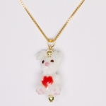 necklace white bunny red heart 18 inch gold necklace