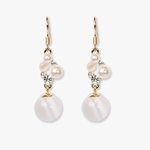 pieced earring gold French hook white cats eye pearls and crystals