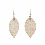 pierced earring gold French hook leaf drop